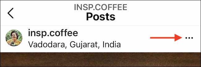 Tippe in deinem Instagram-Beitrag auf die dreipunktige Menüschaltfläche.