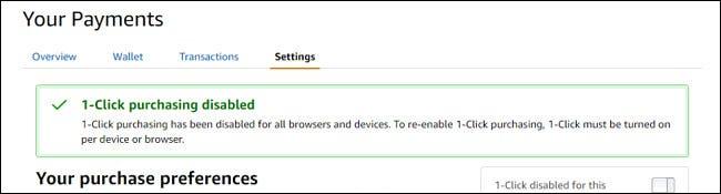 Eine Bestätigungsmeldung zeigt an, dass der 1-Klick-Kauf deaktiviert wurde.