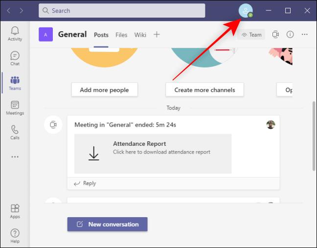 Profilsymbol Oben rechts in Microsoft Teams