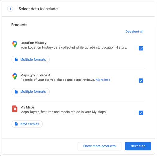 Kontrollkästchen für die gewünschten Daten