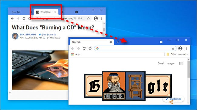 Ziehen eines Tabs zwischen Browserfenstern in Google Chrome.