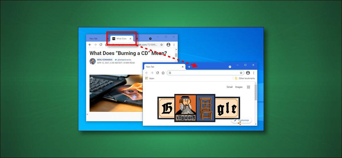 Ziehen von Tabs zwischen Windows in Chrome