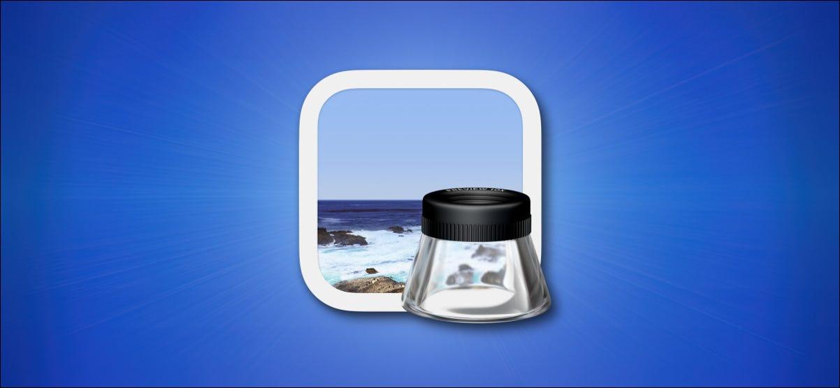 Apple Mac Vorschau-Symbol auf blauem Hintergrund