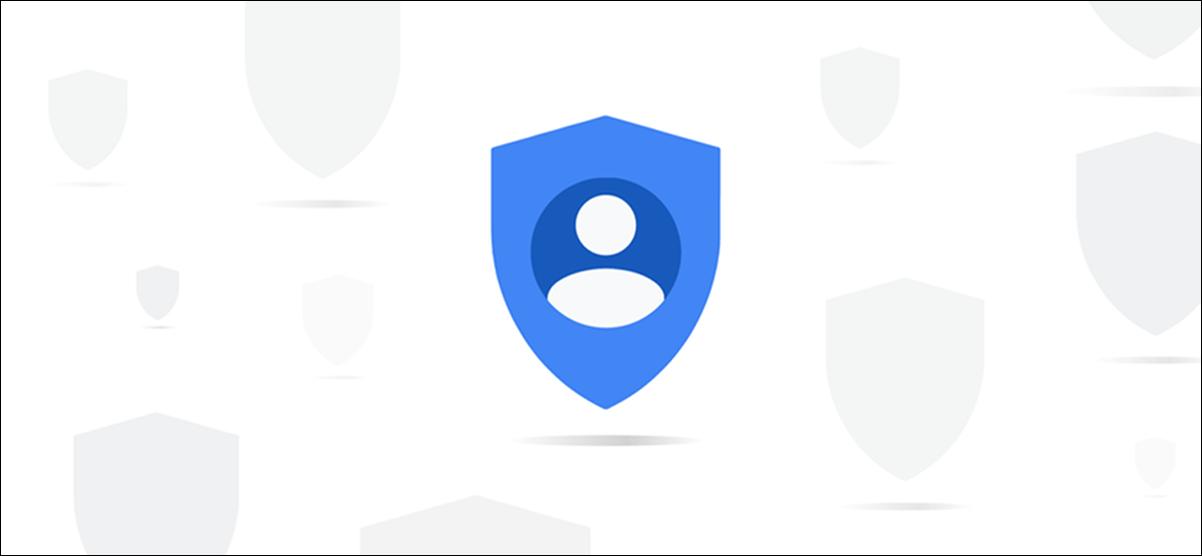 Ein abstraktes blaues Datenschutzsymbol von Google.
