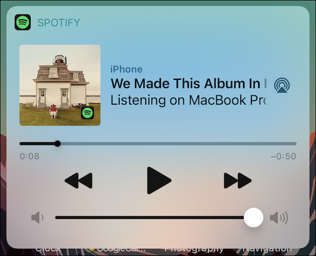 Ein Audioplayer wird auf dem Bildschirm angezeigt