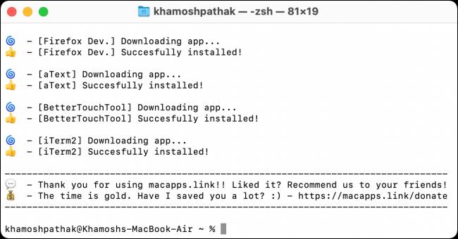 Macapps-Installationsprozess abgeschlossen