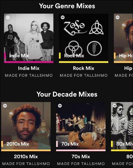 Spotify-Mischungen.