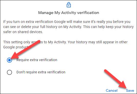 """Wählen Sie """"Zusätzliche Verifizierung erforderlich"""" und klicken Sie auf """"Speichern""""."""