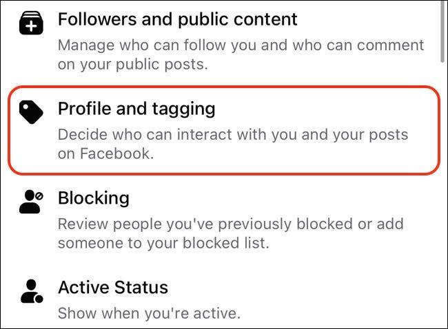Greifen Sie auf dem Handy auf Facebook-Profil- und Tagging-Einstellungen zu