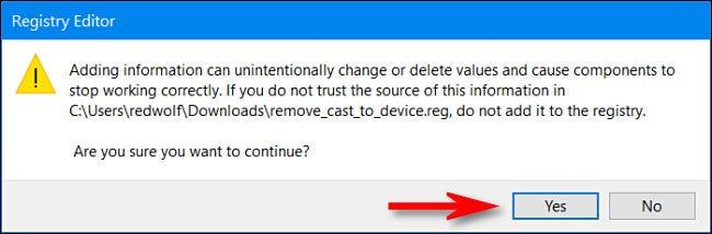 """Wenn Sie gefragt werden, ob Sie die Registrierung ändern möchten, klicken Sie auf """"Ja""""."""