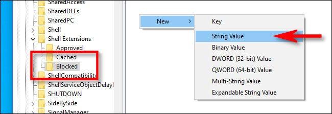"""Fügen Sie im Schlüssel """"Blockiert"""" einen neuen Zeichenfolgenwert hinzu."""