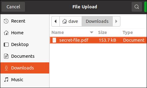 Dateiauswahldialog mit einer ausgewählten Datei