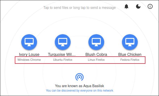 Die Snapdrop-Website mit mehreren verbundenen Computern, die deren Browser und Betriebssysteme anzeigt