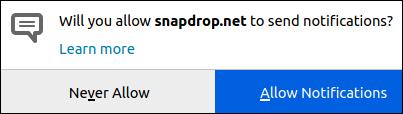 """Dialogfeld """"Optionen für Snapdrop-Benachrichtigungen"""""""