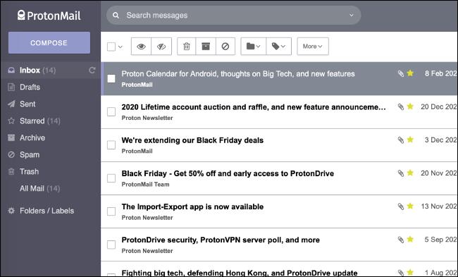 ProtonMail-Posteingang