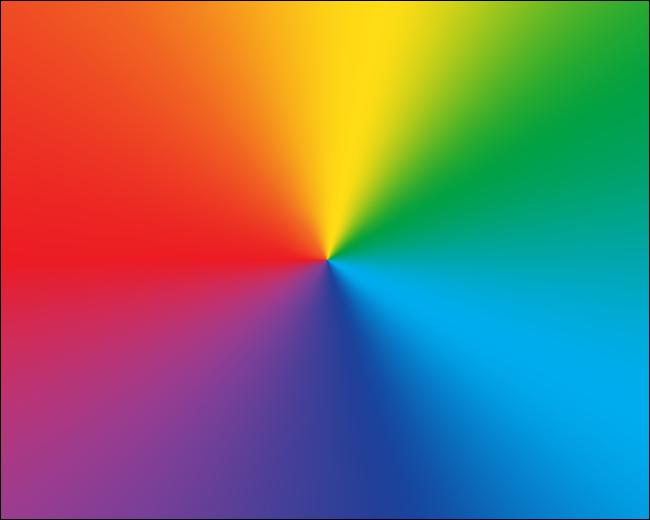 Ein radialer Farbverlauf mit Regenbogenfarben.