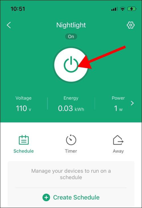Smart Plug in App ein- oder ausschalten