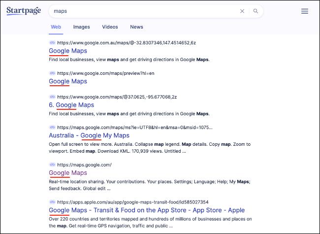 Google-Produkte, die in der StartPage-Suche erscheinen