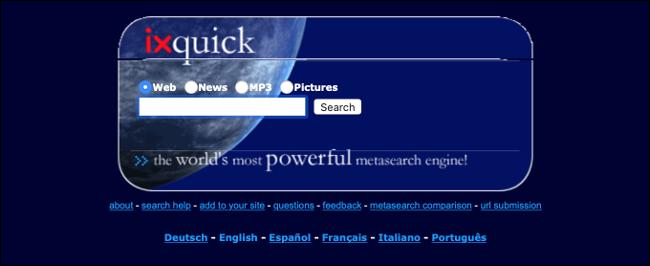 ixquick Meta-Suchmaschine (Wayback-Maschine)