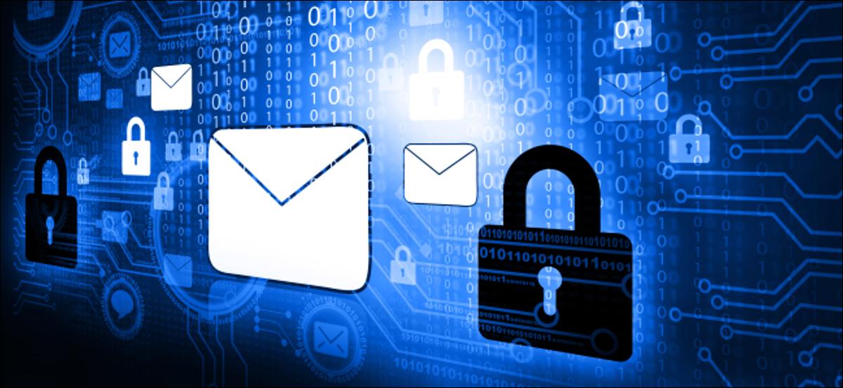 Ein stilisierter E-Mail-Umschlag neben einem Vorhängeschloss.