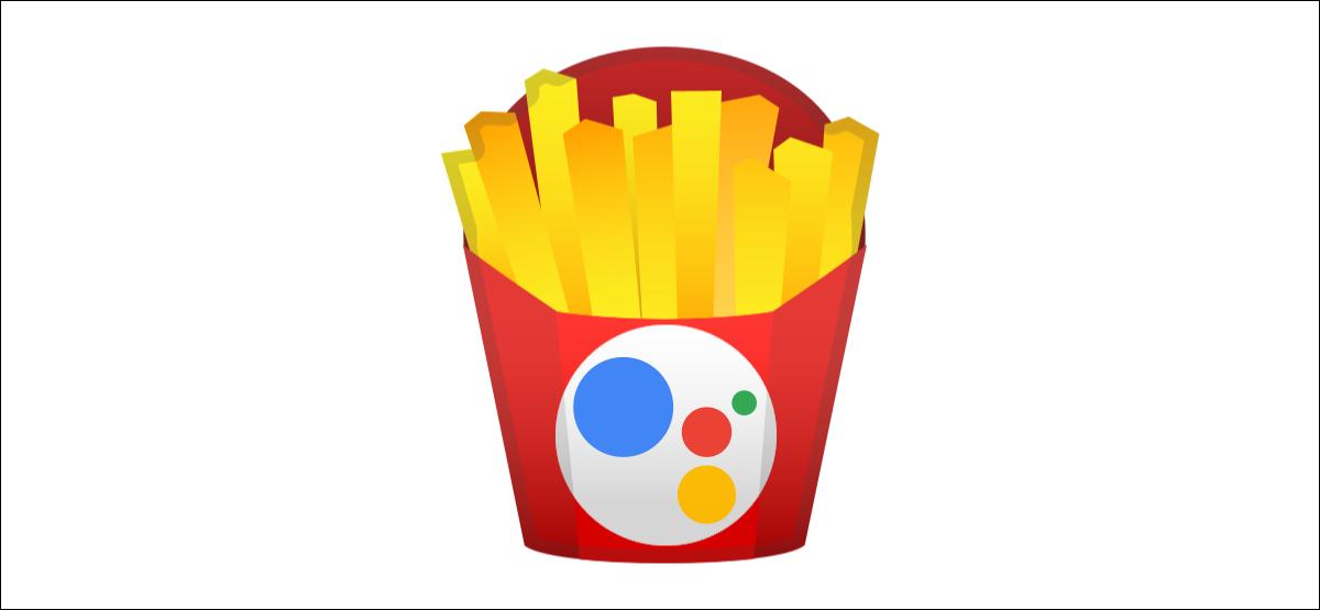 Google Assistant-Logo auf Pommes