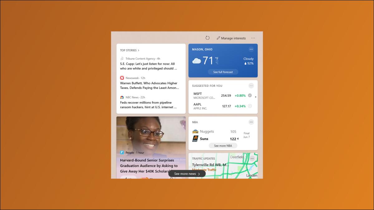 Windows 10 Nachrichten und Wetter.