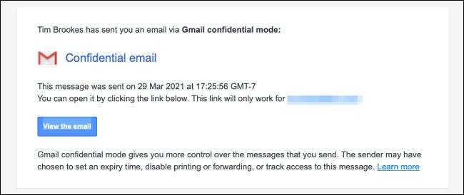 Neue vertrauliche E-Mail-Benachrichtigung