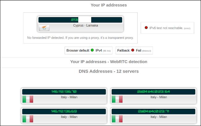 Testergebnis ohne aktiviertes VPN