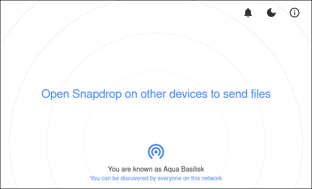 Die Snapdrop-Website mit einem einzigen verbundenen Computer