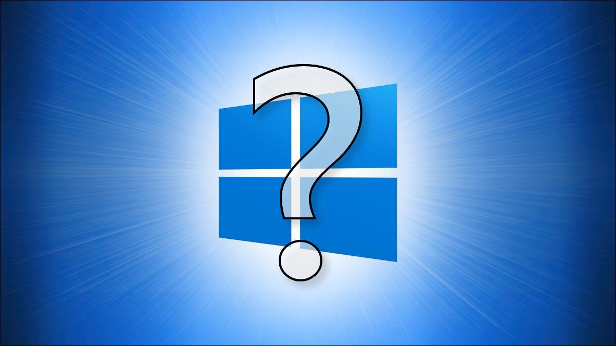 Das Windows 10-Logo mit einem Fragezeichen davor