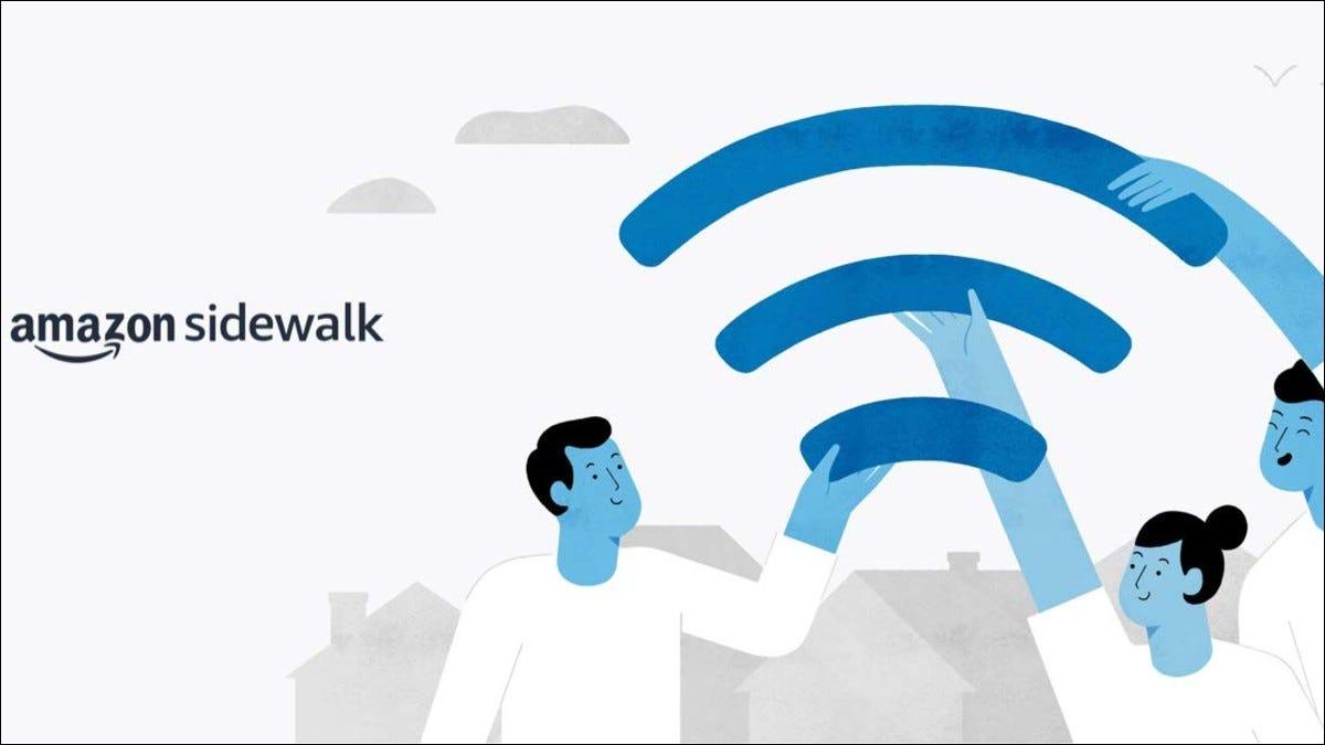 Amazon Sidewalk-Text und Illustration von Personen, die einen Teil des WiFi-Symbols halten
