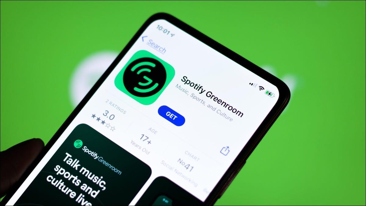 Installieren der Spotify Greenroom-App aus dem App Store auf dem iPhone.