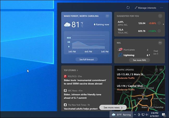 Das Windows 10 Nachrichten- und Informations-Taskleisten-Widget