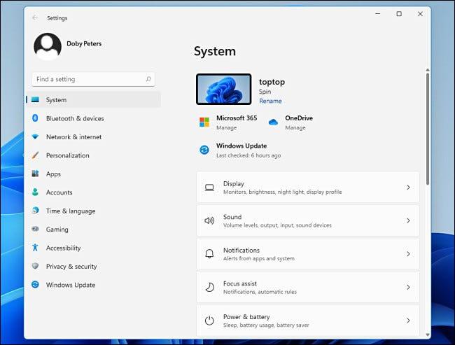Das Systemmenü in den Windows 11-Einstellungen.
