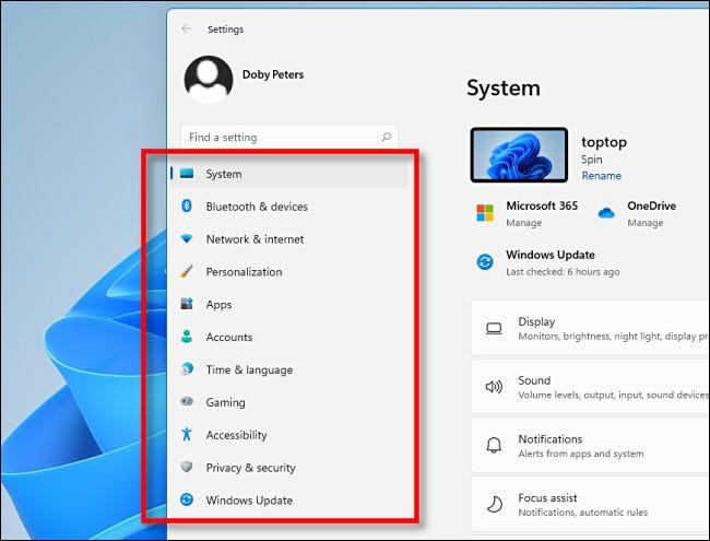 Die Seitenleiste in den Windows 11-Einstellungen.