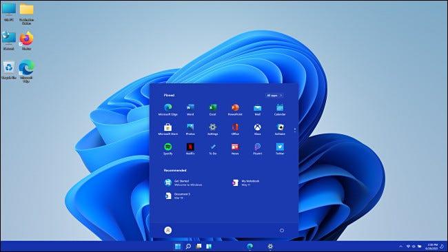 Windows 11 Insider Preview Desktop und Startmenü