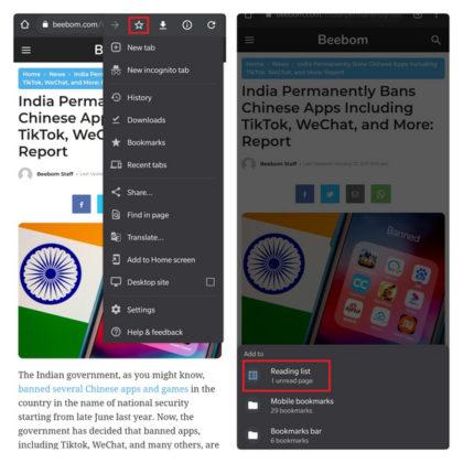 Seite zur Leseliste hinzufügen Chrome Android