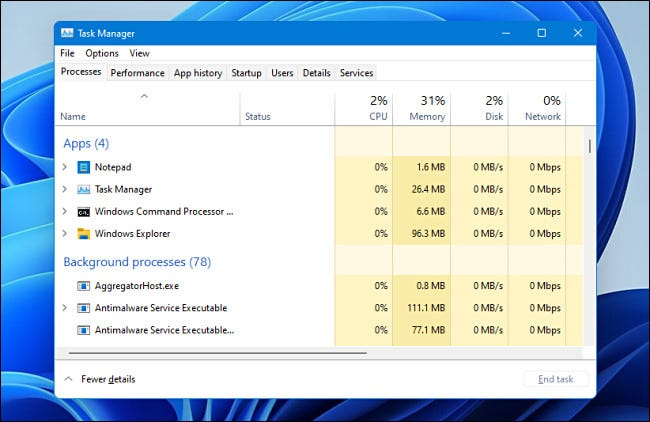 Task-Manager in Windows 11