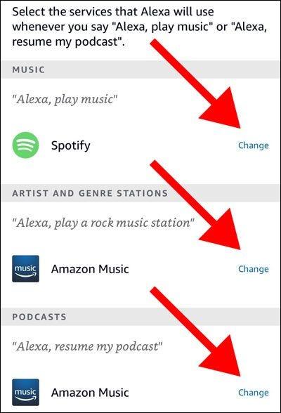 Alexa-App-Standarddienste für Musik