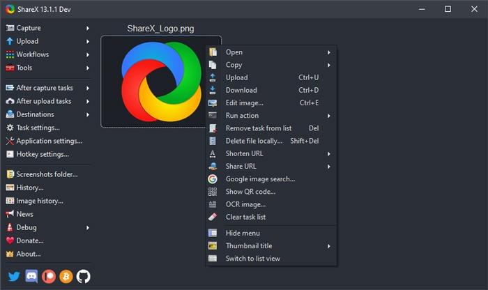 Bildlauf-Screenshot aufnehmen Windows 10 Sharex