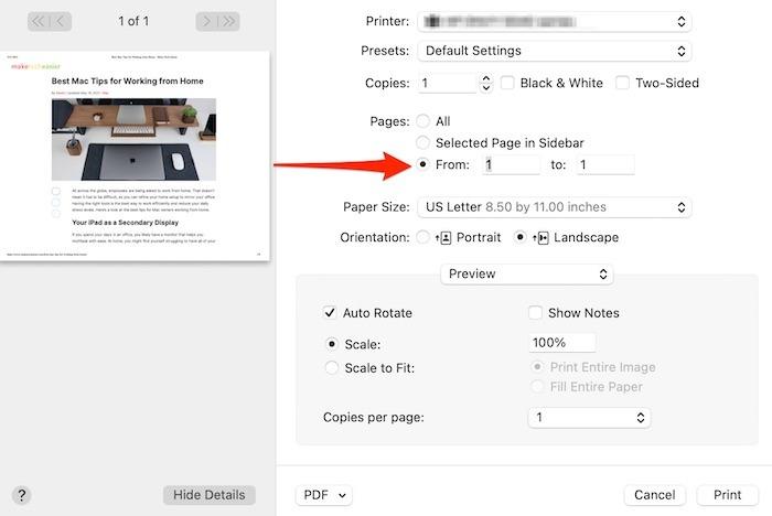 Einzelseiten-PDF-Druckbildschirm extrahieren