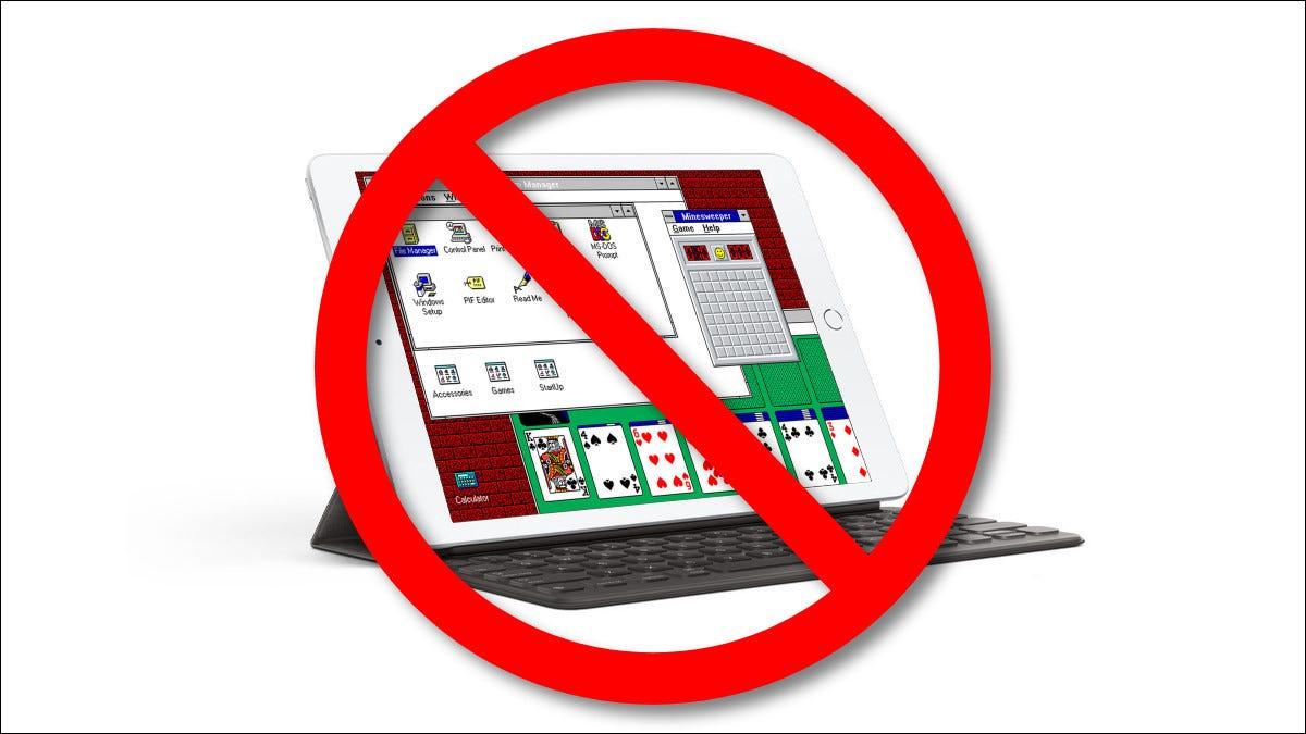 Ein durchgestrichenes iPad mit Windows 3.1 auf einem Emulator.