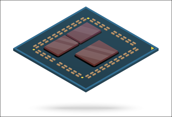 Innenarchitektur eines Computerprozessors mit Chiplets