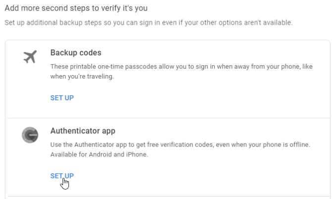 Einrichtung des Google Authenticator-Codes