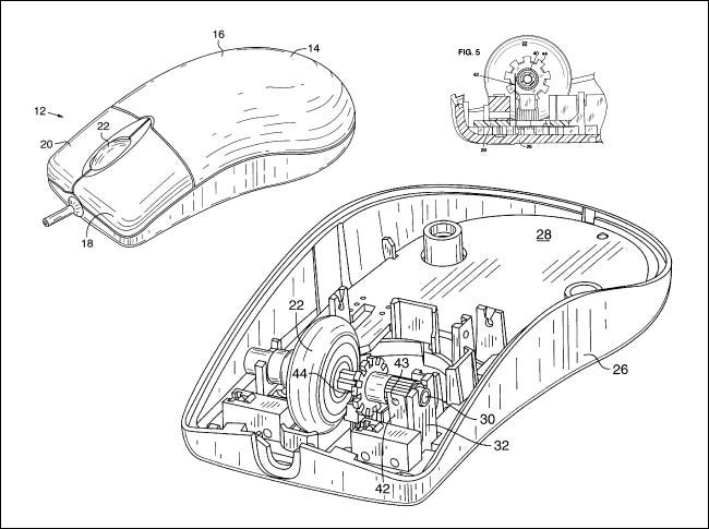 Diagramme aus dem Intellimouse-Patent von Microsoft.