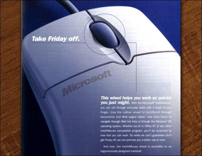 Teil einer Zeitschriftenanzeige von 1997 für die Intellimouse.