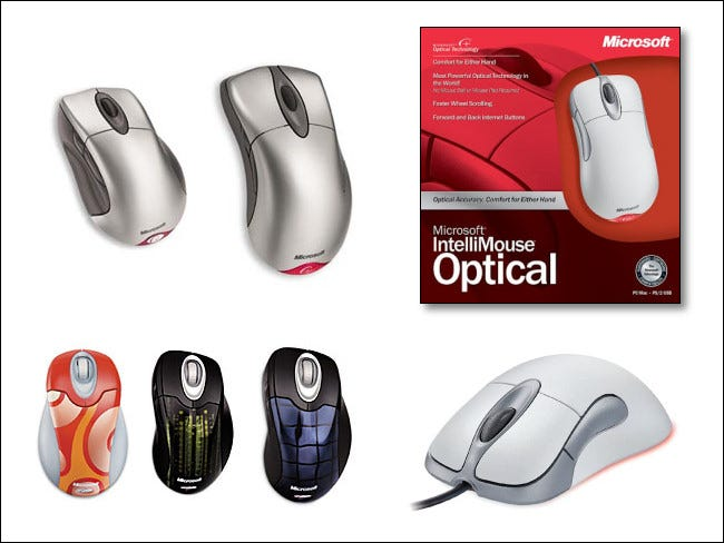 Verschiedene Microsoft Intellimouse-Modelle im Laufe der Zeit.