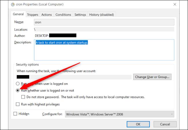 """Ein Windows-Task-Eigenschaftenfenster mit einem roten Pfeil, der auf die Option """"Ausführen, ob Benutzer angemeldet ist oder nicht"""" zeigt."""