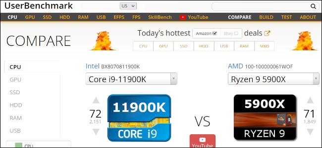 UserBenchmark-Website zum Vergleich eines Intel- und AMD-Prozessors.