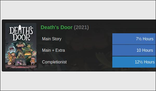 Death's Door-Spielcover auf schwarzem Hintergrund mit blauen rechteckigen Kacheln, die die Spieldauer in Stunden anzeigen.